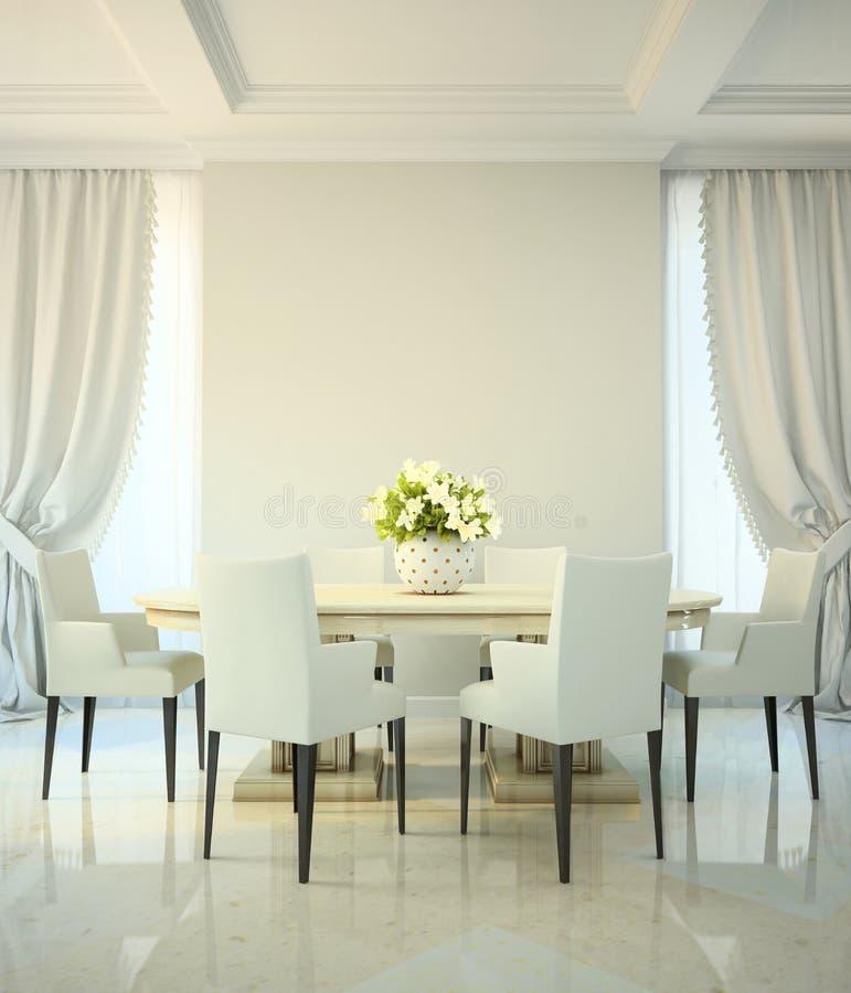 Sala Da Pranzo Barocco Moderno: Sala Da Pranzo Nello Stile Classico Illustrazione Di Stock