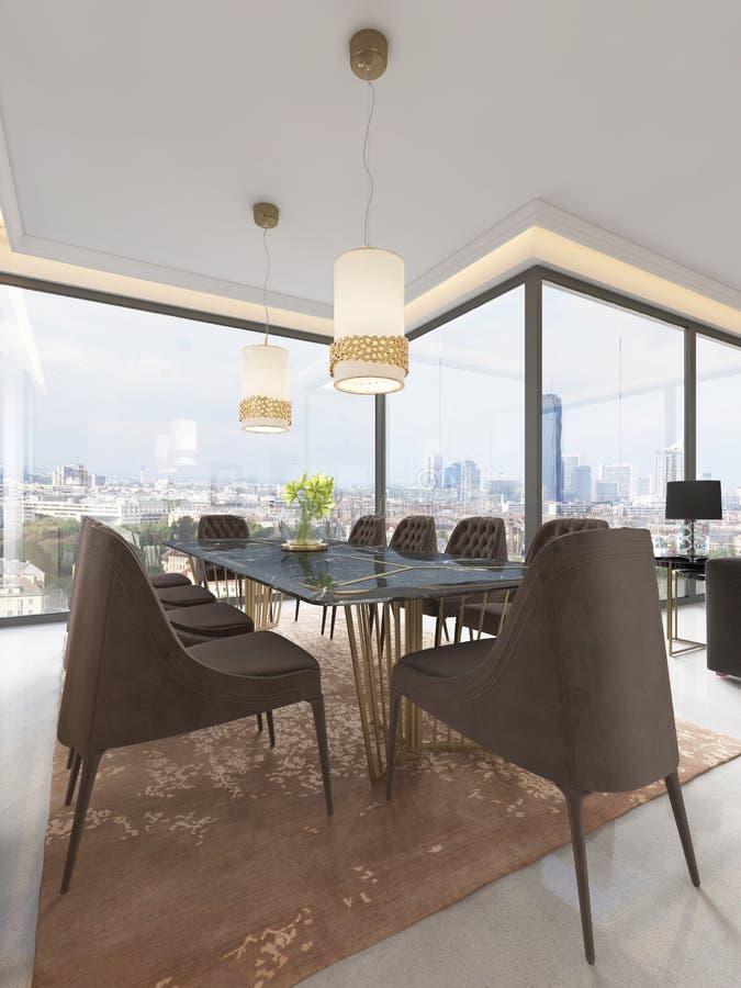 Sala da pranzo nello stile classico e di lusso, con una tavola servita pranzante di legno rettangolare con gli elementi decorativ illustrazione vettoriale