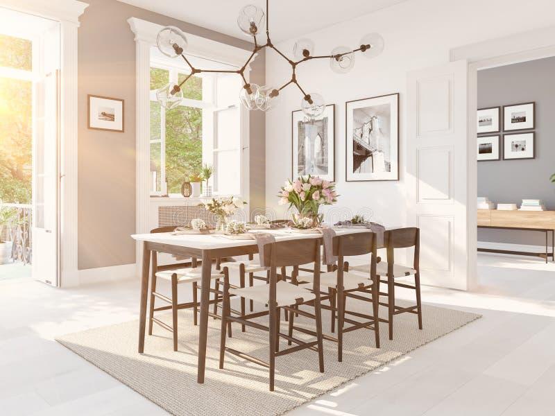 Sala da pranzo nordica moderna in appartamento del sottotetto rappresentazione 3d immagini stock libere da diritti