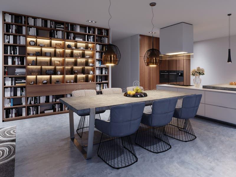 sala da pranzo stile sottotetto con la grande tavola e piano di lavoro concreto solido, sei sedie molli in una progettazione crea illustrazione di stock