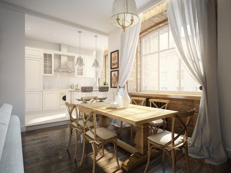 Sala da pranzo tradizionale classica moderna e cucina bianca illustrazione vettoriale