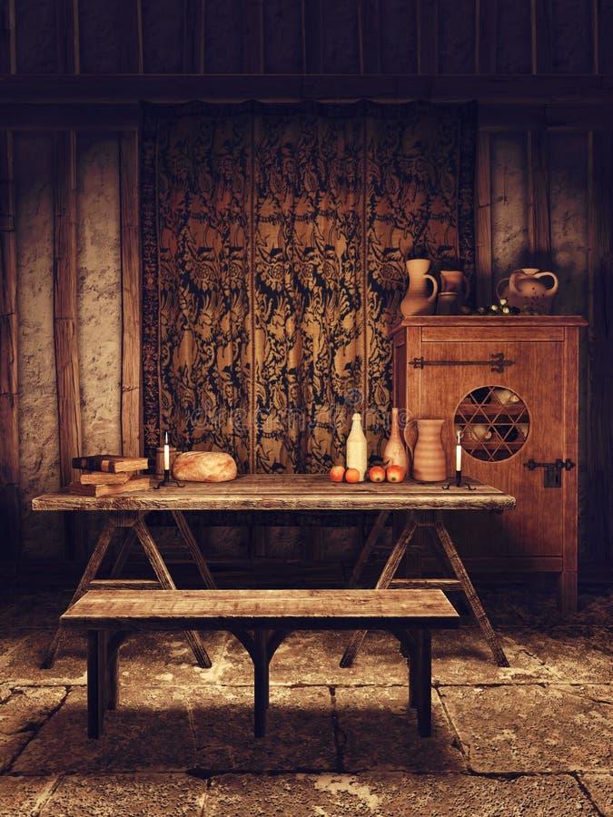Sala da pranzo in una casa medievale illustrazione di stock