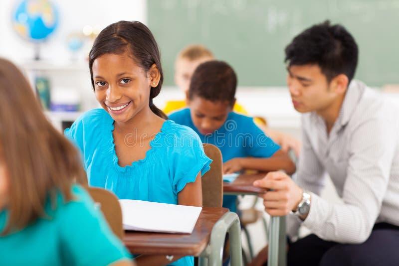 Sala de aula da menina da escola imagem de stock royalty free