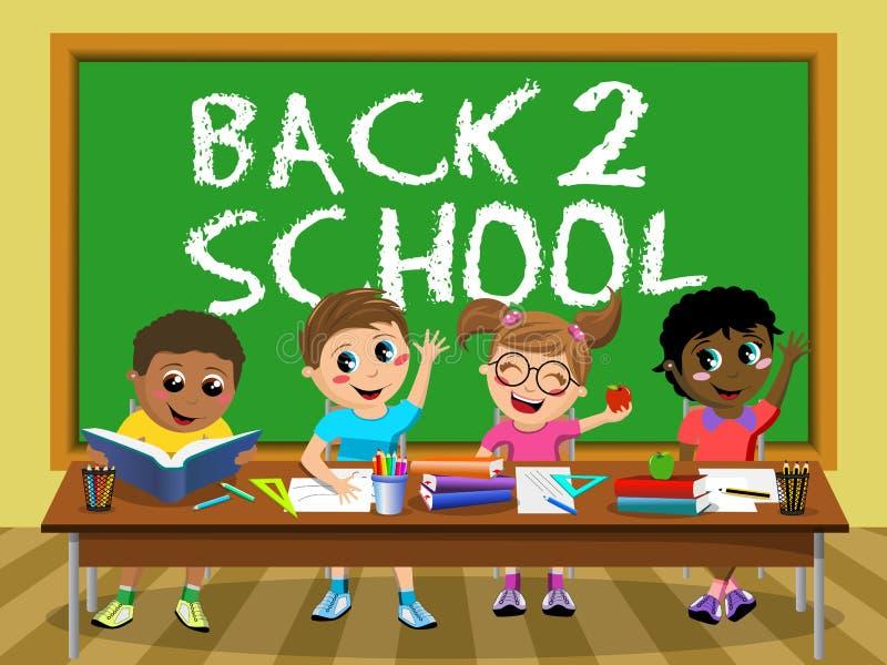 Sala de aula feliz das crianças das crianças do quadro-negro traseiro da escola ilustração royalty free