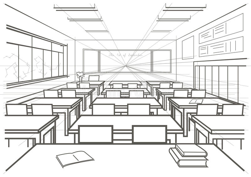 Sala de aula interior da escola do esboço arquitetónico ilustração royalty free