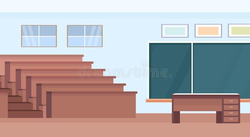 Sala de aula moderna interior da universidade da sala vazia do teatro do salão de leitura do auditório com fileiras de madeira do ilustração stock
