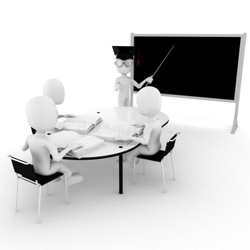 sala de aula-professor e estudantes do homem 3d fotos de stock royalty free