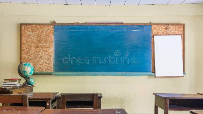 Sala de aula retro do vintage interior com o quadro vazio para seu espaço da cópia Conceito da educação e do fundo da escola Azul foto de stock royalty free