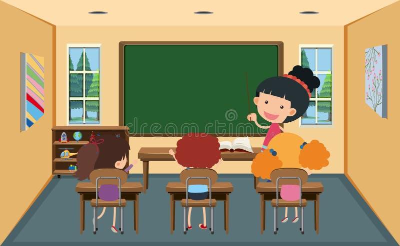 Sala de aula de And Students In do professor ilustração stock