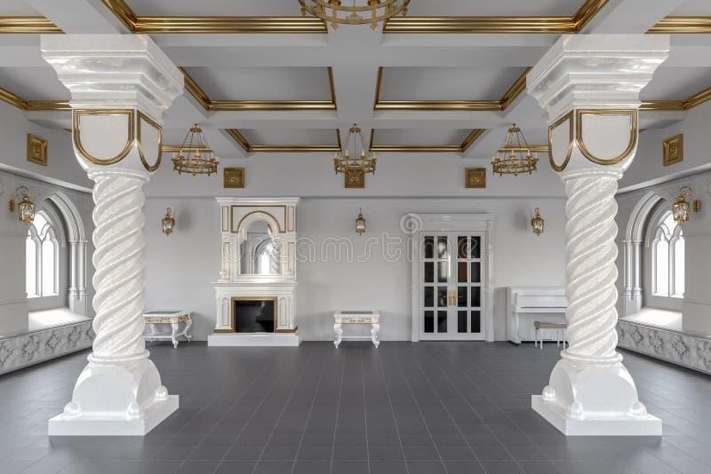 Sala de banquete no restaurante 3d rendem ilustração royalty free
