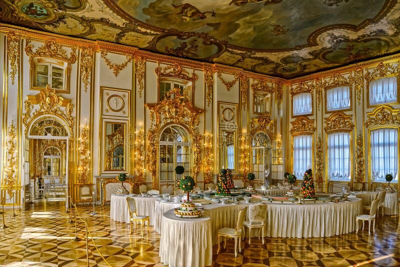 Sala de banquetes en Tsarskoe Selo (Pushkin), St Petersburg, Rusia imágenes de archivo libres de regalías