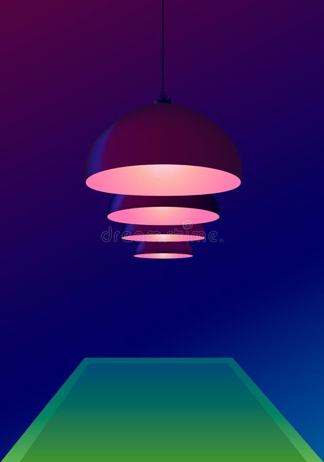 Sala de bilhar escura com as lâmpadas do teto do pendente de uma mesa de bilhar e de Borgonha Escuro - fundo azul Ilustra??o do v ilustração royalty free
