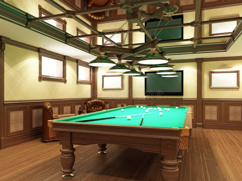 Sala de bilhar no estilo clássico com decoração de madeira ilustração stock