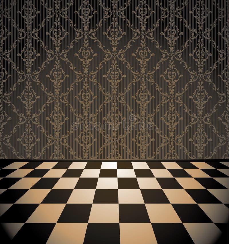Sala de Brown com assoalho checkered ilustração do vetor