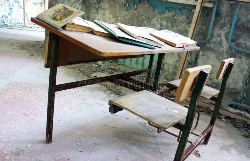 Sala de clase de Pripyat foto de archivo
