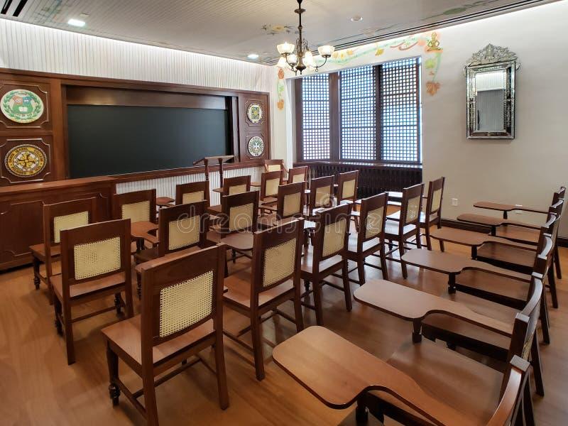Sala de clase en la universidad de la catedral de Pittsburgh del aprendizaje imágenes de archivo libres de regalías