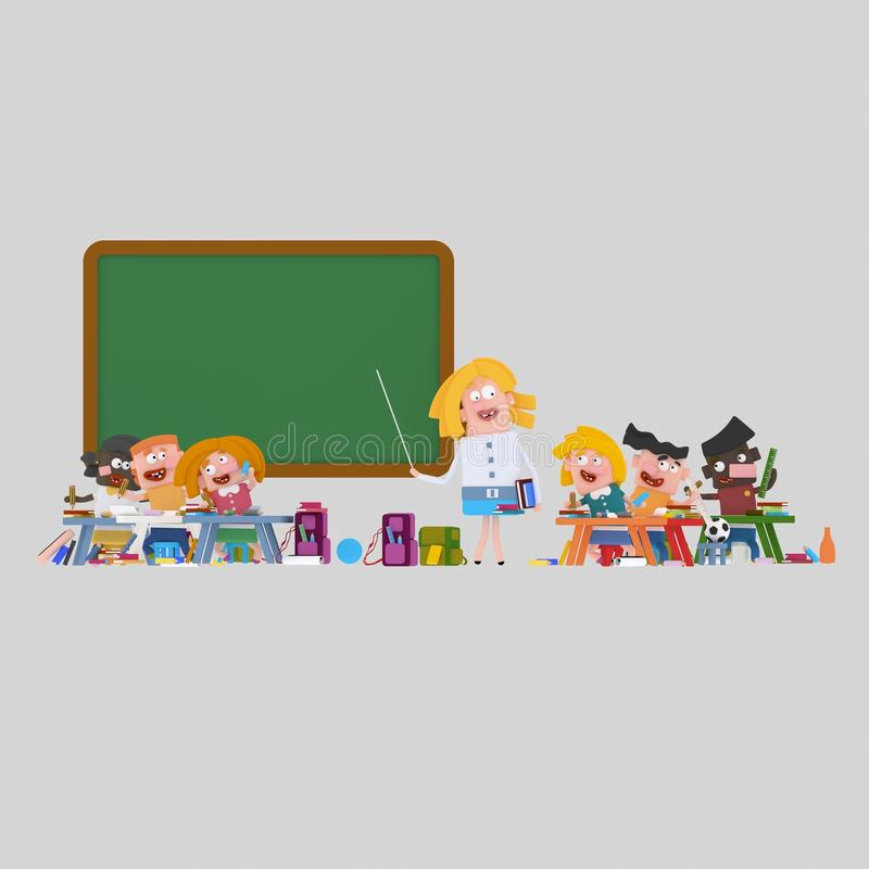 Sala de clase interesante ilustración del vector