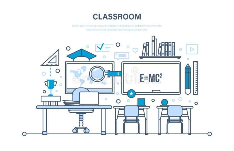 Sala de clase, interior del sitio, educación, entrenamiento, aprendiendo, lugar de trabajo, conocimiento, enseñando ilustración del vector