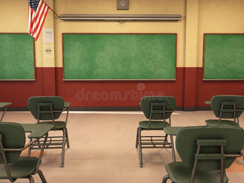Sala de clase de la escuela, pizarra, escritorios, educación foto de archivo