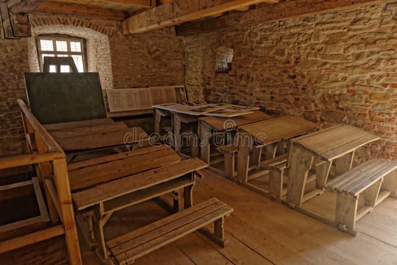Sala de clase, Mosna, Rumania imagen de archivo