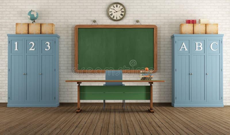 Sala de clase retra stock de ilustración