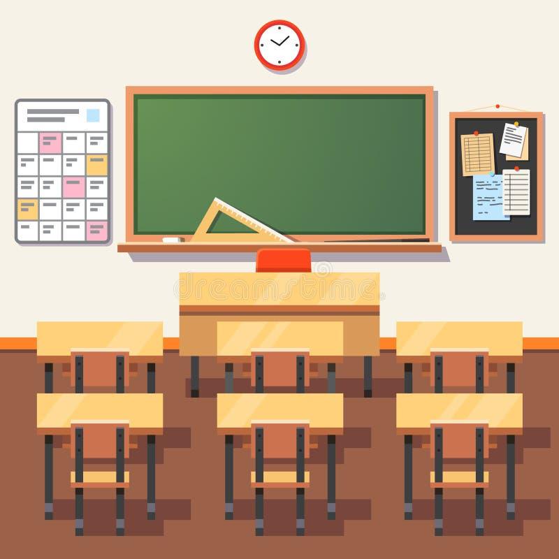 Sala de clase vacía de la escuela con la pizarra verde libre illustration