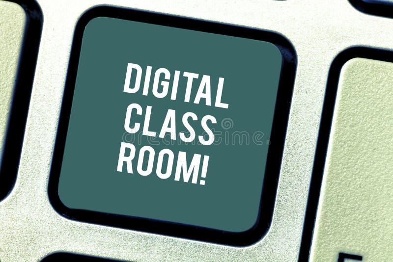 Sala de classe de Digitas do texto da escrita da palavra Conceito do negócio para onde aprendizagem e interação do estudante com  imagens de stock