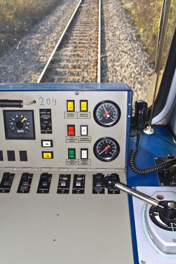 Sala de comando do excitador de um trem foto de stock