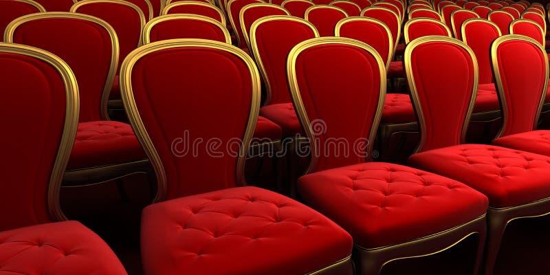 Sala de concertos com assento vermelho 3d ilustração stock