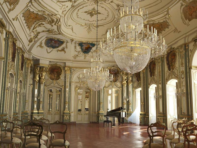 Sala de conciertos adornada grande majestuosa del piano. libre illustration