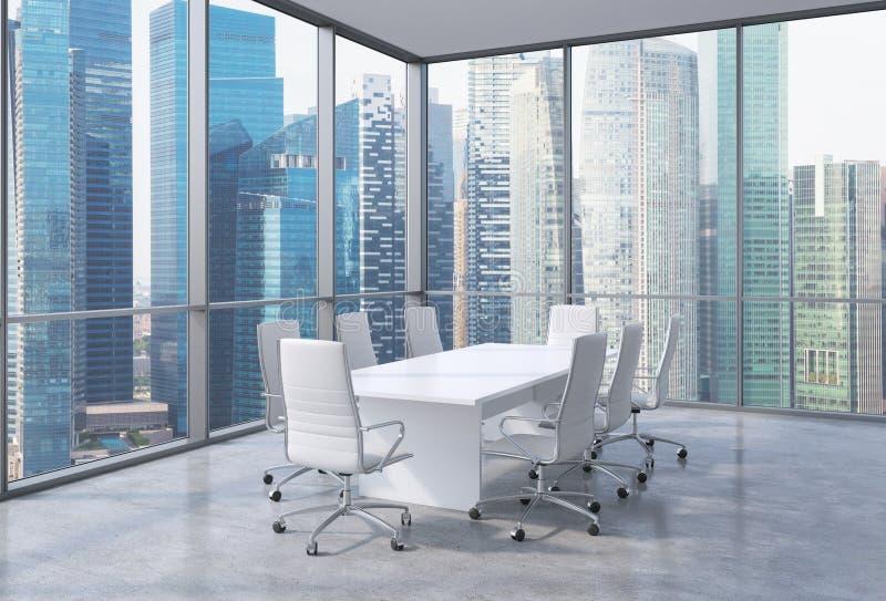 Sala de conferências de canto panorâmico no escritório moderno, opinião financeira singapurense da área Cadeiras brancas e uma ta ilustração do vetor