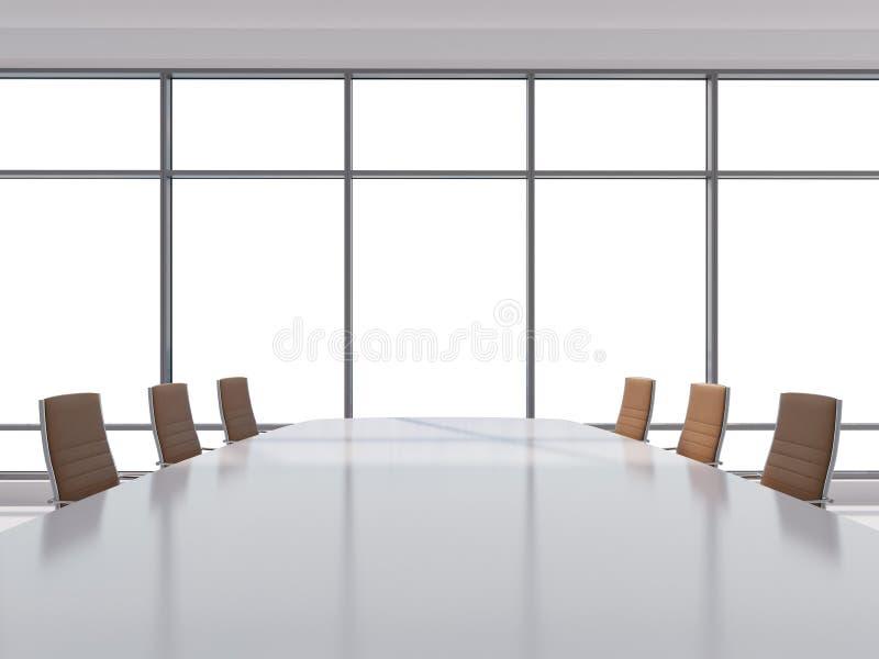 Sala de conferências panorâmico no escritório moderno, opinião do espaço da cópia das janelas Cadeiras de couro de Brown e uma ta ilustração royalty free