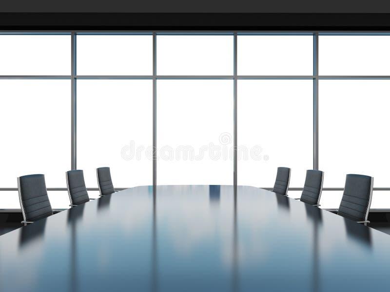 Sala de conferências panorâmico no escritório moderno, opinião do espaço da cópia das janelas Cadeiras de couro pretas e uma tabe ilustração stock