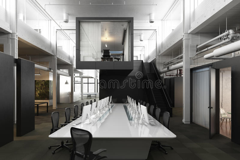 Sala de conferências vazia moderna executiva do escritório para negócios com claraboias aéreas e acentos industriais imagens de stock royalty free