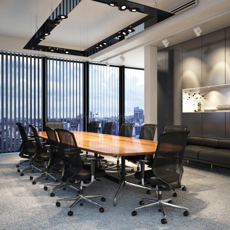 Sala de conferências vazia moderna executiva do escritório para negócios que negligencia uma cidade foto de stock royalty free