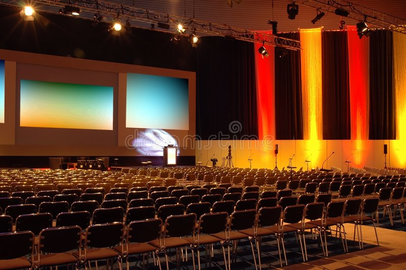 Sala de conferencias colorida imagenes de archivo