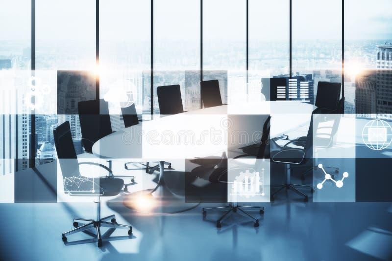 Sala de conferencias con el interfaz digital stock de ilustración