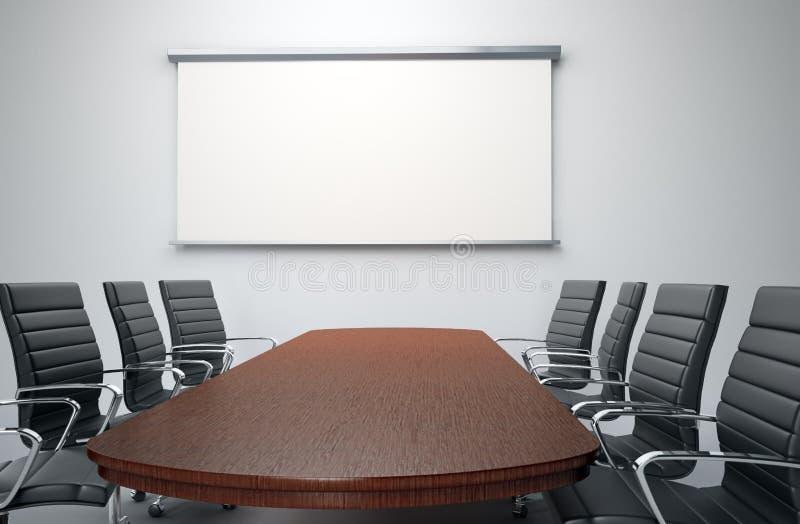 Sala de conferencias con las sillas vacías stock de ilustración