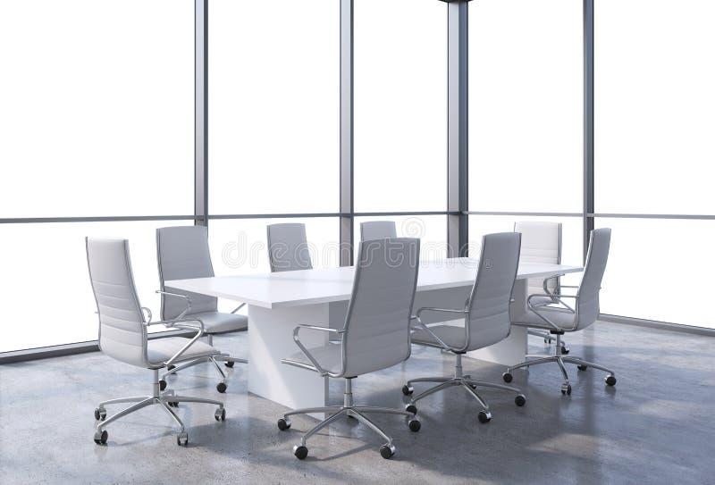 Sala de conferencias panorámica en oficina moderna, opinión del espacio de la copia de las ventanas Sillas blancas y una tabla bl stock de ilustración