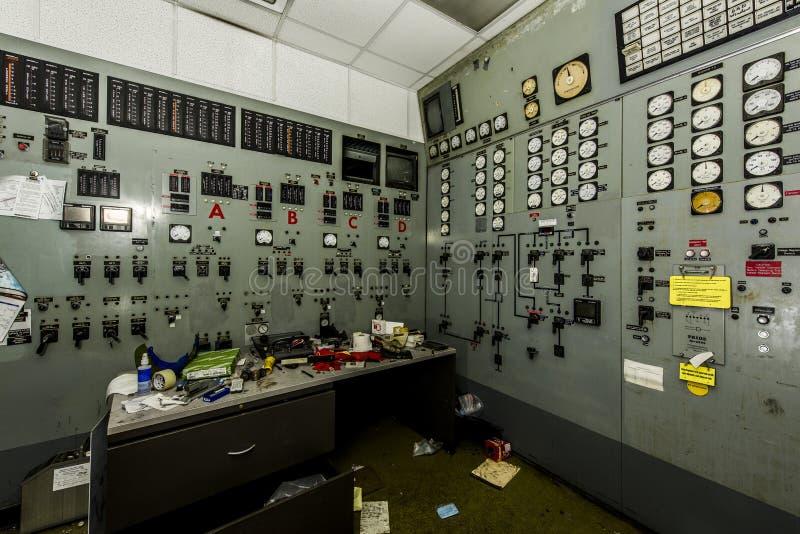Sala de control - central eléctrica abandonada - Ohio imagen de archivo