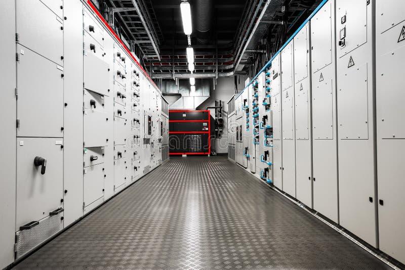 Sala de control eléctrica del amperaje foto de archivo