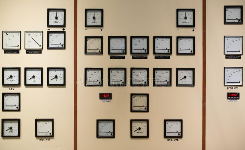 Sala de control en central eléctrica fotos de archivo libres de regalías
