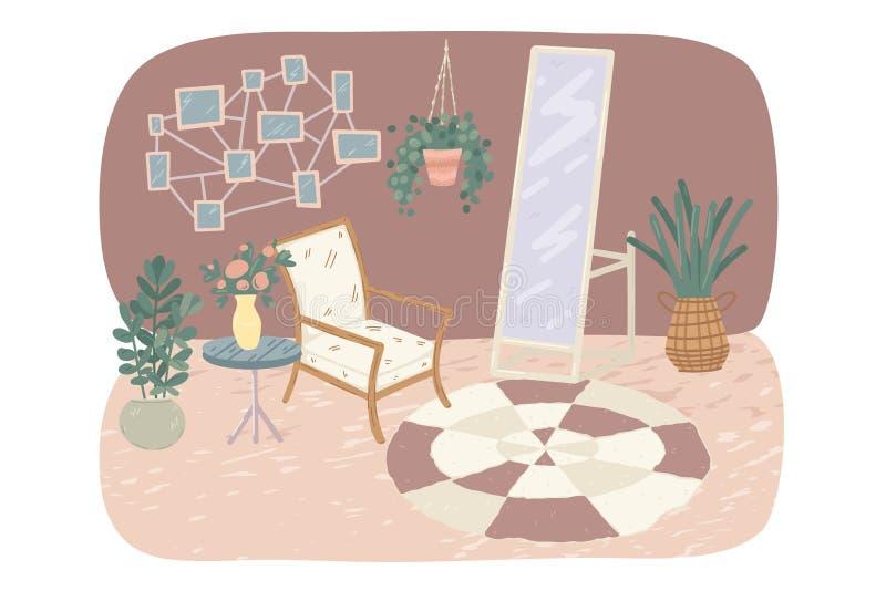 Sala de cozinha com poltrona, espelhos, plantas com vasos Ilustração vetorial ilustração royalty free