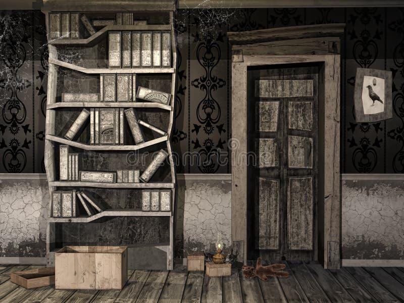 A sala de crianças assustador ilustração do vetor