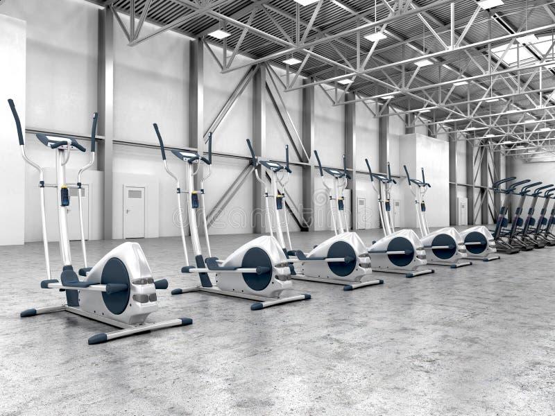 Sala de ejercicio con el equipo en un cuarto grande stock de ilustración