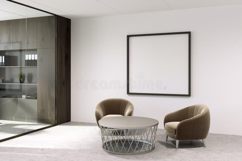 Sala de espera blanca de la oficina con el cartel libre illustration