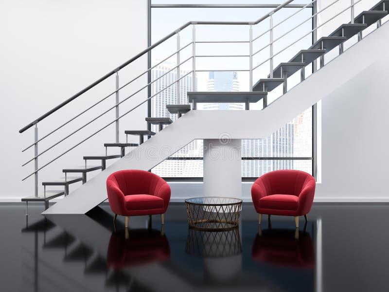 Sala de espera branca do escritório, poltronas vermelhas ilustração do vetor