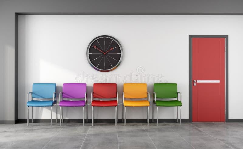 Sala de espera colorida stock de ilustración