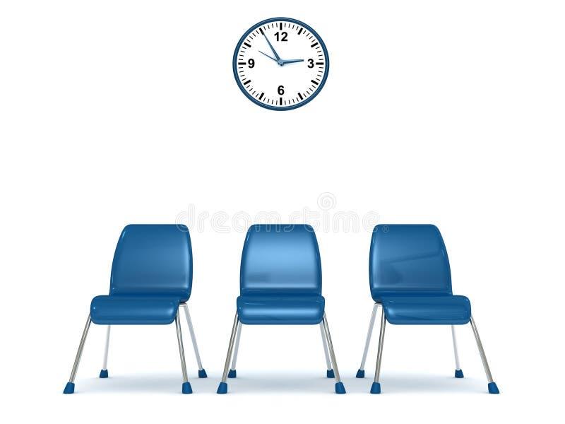 Sala de espera con una fila de sillas y del reloj de pared ilustración del vector