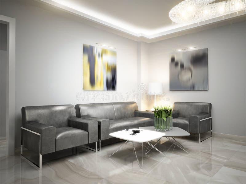 Sala de espera de alta tecnología de la recepción del minimalismo moderno ilustración del vector